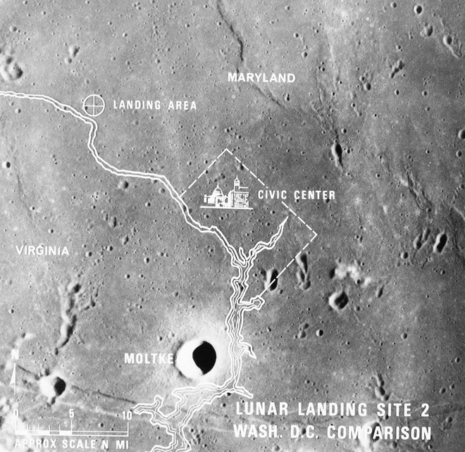 Lunar landing site viewed from Apollo 10